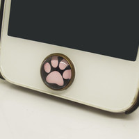 1PC Retro Epoxy  Pet Dog Claw Transparent Time Gems Alloy  Cell Phone Home Button Sticker Charm for iPhone 4s,4g,5,5c Best Friend Gift