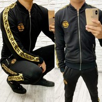 FENDI Fashion Men Casual Print Long Sleeve Sweater Jacket Trousers Pants Set Two-Piece Sportswear