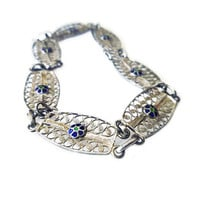 Silver Filigree Bracelet, Enamel, Cannetille, Spain Spanish, Shooting Star, 750 Silver, Vintage Jewelry