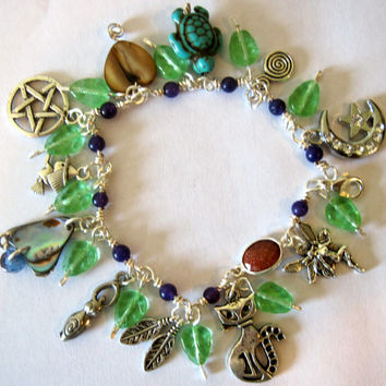 "Witchy Wiccan Magical Charm Bracelet Silver Tone 7.5"" Wicca Witch Magic Fairy Handmade Amethyst"