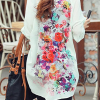 Back Floral Print Long Sleeve Shirt
