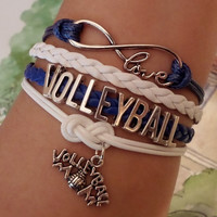 Infinity love Bracelet, Volleyball Volleyball Mom, cheer Cheerleader cheerleading bracelet blue navy, white wax cords. Friendship Gift