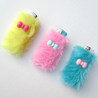 Kawaii Pastel Goth Furry Lighter Covers Set, 3 Best Friends Girly Bic Lighter Cases, Fun Fur, Lolita Lighter Holders, Pastel Faux Fur