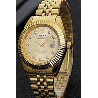 Rolex Popular Women Men Delicate Business Quartz Watches Wrist Watch Pure Gold I