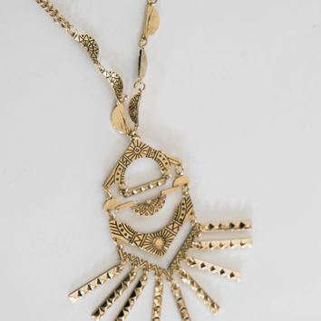 Gold Etched Necklace