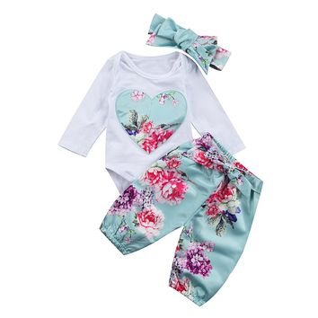 born Kid Baby Girl Floral Clothes Romper +Pants +Headband Outfits Clothing