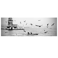 Large istanbul panorama, istanbul city, black and white, fine Art Photography, Print, city,  10''x30'' inch