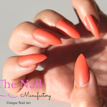 Coral Matte Stiletto nails - also available as Oval or Square Fake Nails - Set of Orange Handpainted False Nails -   Matte Look - Press On