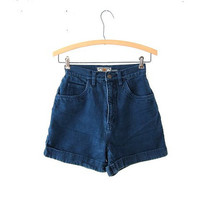 Vintage 80s blue jean shorts. high waisted shorts.