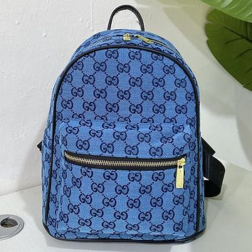 GG canvas embroidered letters ladies shopping backpack school bag daypack Blue