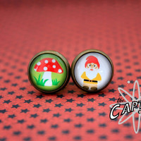 Garden gnome and mushroom 8mm 0G plugs tunnels gauge woodland