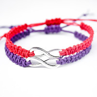 Infinity Friendship or Couples Bracelets Hemp Purple and Red