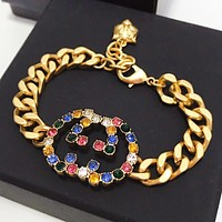 GUCCI New fashion multicolor letter chain bracelet Golden