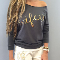 """"""" Wifey"""" Letters Printed Sweater B0013632"""