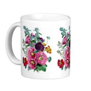 Vintage Hollyhock Blooms Coffee Mug