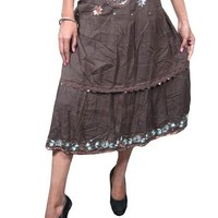 Womens Gypsy Skirt Brown Beaded Embroidered Casual Mid Length Peasant Skirts: Amazon.com: Clothing