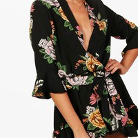 Riley Oriental Kimono Style Belted Playsuit | Boohoo