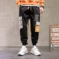 Mens Cargo Pants Men Fashion Patchwork Side Pockets Joggers Hip Hop Streetwear Trousers Male Pants Men