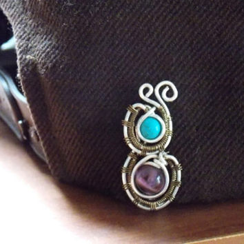 Heady Wire Wrapped Hat Clip wih Amethyst and Turquoise