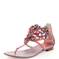 Rene Caovilla Chandelier Thong Sandal, Coral