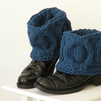 Best Holiday Sale Hand Knit Winter Navy Blue Color Boot Covers, Short Woodland Boot Toppers