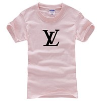 LV Louis Vuitton Fashion Men Casual Hot Letter Print T-Shirt Top Blouse Pink