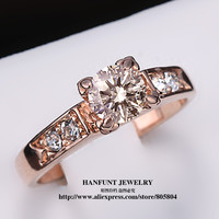 Classical Cubic Zirconia Forever Wedding Rings Rose Gold Plated Solitaire Rhinestones Lovers Ring Jewelry For Women Bijoux R051
