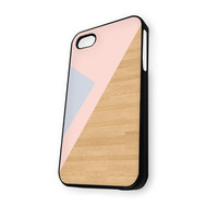 Geometric Wood Pink Grey iPhone 5C Case