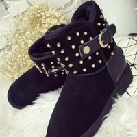 New Black Round Toe Flat Rivet Buckle Fashion Ankle Boots