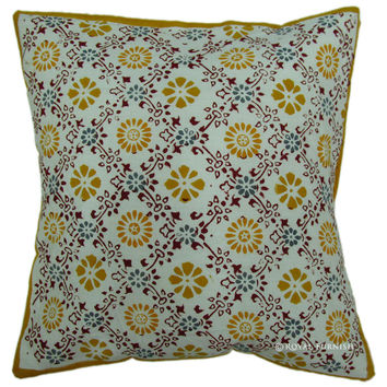 "16"" Block Printed Cotton Throw Cushion Cover Ethnic Indian Toss Pillow Cover"