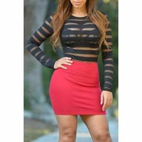 Trendy Round Neck Long Sleeve Mesh Panel See-Through Women's Bodysuit - Black S