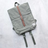 Herschel Supply - City Backpack | Mid-Volume - Deep Lichen Green/Tan Synthetic Leather
