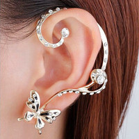 Personality Butterfly Crystal Earring Clip