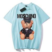 Moschino Fashion New Summer Letter Bear Print Women Men Top T-Shirt Sky Blue