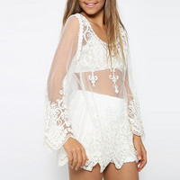Sheer Sleeve Embroidery Lace Crochet Tee