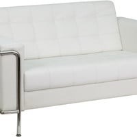 Lesley Contemporary White Leather Love Seat with Encasing Frame