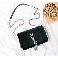 YSL SAINT LAURENT WOMEN'S VELVET INCLINED CHAIN SHOULDER BAG