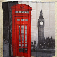 Creative Waterproof 3D London Big Ben Shower Curtain Bathroom Product Polyester Telephone Booth Pattern W/ 12 Hooks Bath Decor