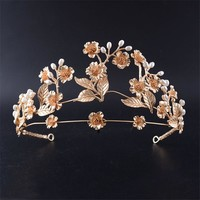Bridal Wedding Tiaras and Crowns Preal Flower Leaf Gold Color
