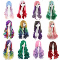 Promotion long wavy ombre color ladies synthetic hair wig rainbow color japanese kanekalon fibre anime cosplay wig peruca