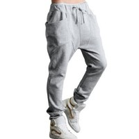 Allegra K Men Casual Elastic Waist Baggy Straight Trousers Pants W32/34