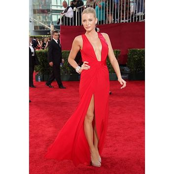 Blake Lively Red Plunging Revealing Prom Dresses Celebrity Dress Emmys 2009 Red Carpet