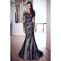 Custom Made Charming 2017 Tulle Lace Appliques Elegant Mermaid  Long Sexy Party Prom Dress  New Arrival Evening Dress