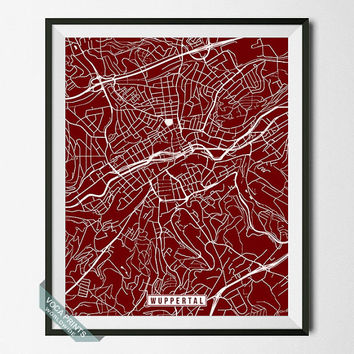 Wuppertal Print, Germany Poster, Wuppertal Poster, Wuppertal Map, Germany Print, Street Map, Germany Map, Home Decor, Wall Art