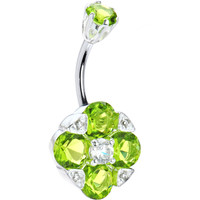 Sterling Silver 925 Peridot Cubic Zirconia Empress Belly Ring | Body Candy Body Jewelry