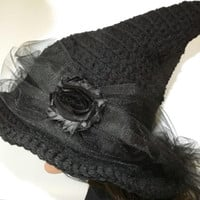 Black Witch Hat- The Craft Keeper- Pretty Witch-Black Rose Black Tulle Chiffon Halloween Ostara Fashion