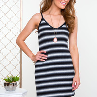 Chill Out Striped Dress - Black