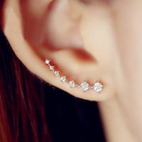String Of Shines Rhinestone Ear Cuffs (Long Pin, One Piecing)