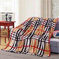 2016 soft and warm Coral Fleece British style blanket on the bed many size multi fuctional Striped travel portable blankets