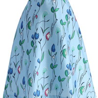Fly With Tulips Printed Midi Skirt in Baby Blue Multi